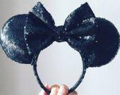 Black Sequin Ears, MNSSHP Ears, Disney Halloween Ears, Classic Minnie Ears, All Sequin, Custom Mouse Ears, mix and match