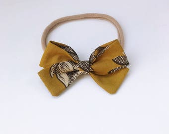 Charley - mustard floral signature bow heaband