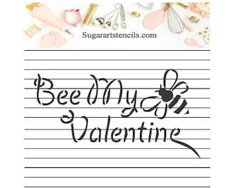 Bee my Valentine cookie stencil ST0039