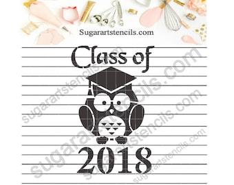 Graduation class of 2018 cookie stencil st00137