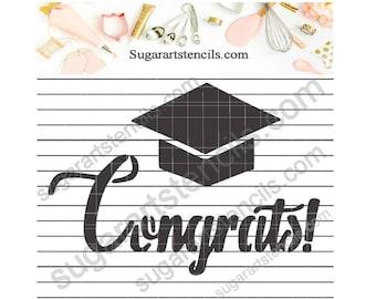Congrats Graduates cookie stencil NB90021 graduation