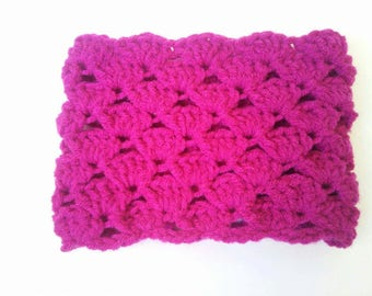 Pink snood Choker fuchsia for girl made entirely by hand crochet