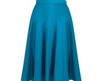 Teal skirt, retro skirt, pin up skirt, 50s petticoat skirt, swing skirt