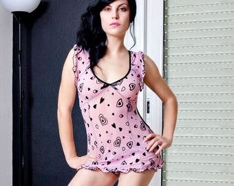 Sexy Runaway Hearts Valentine Lingerie Babydoll Sleepwear Pink Sex Mini Dress
