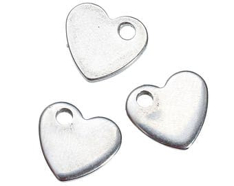 10 charms heart stainless steel 1 cm