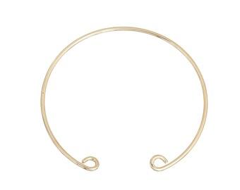 2 semi-open copper gold Bangle bracelets