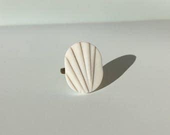 Textured Porcelain geometric handmade ring