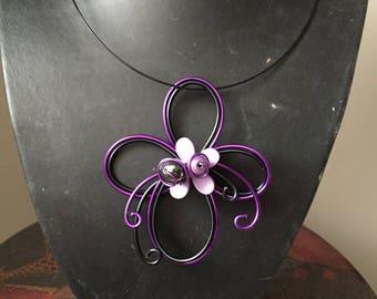 Bennett purple and black fashion necklace
