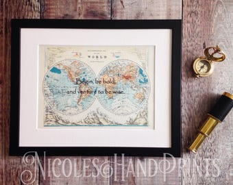 World Map Print, Travel Quotes, Travel Quote Print, Old Map, Map of the World, Map Art, Custom Map Print, Travel Gift, Travel Poster,