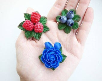 Handmade brooches from polymer clay, brooch, peony, raspberry, blueberry,  beautiful jewelry, gift idea, polymer clay brooch, clay flowers