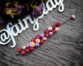 Peonies bracelet from polymer clay, handmade bracelet, beautiful jewelry, polymer clay bracelet, gift idea,gift for her, polymer clay flower