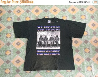 10% Off 15 Percent Off with Coupon Code!!! Vintage 90s Rage Against The Machine We Support Our Troops Green Shirt