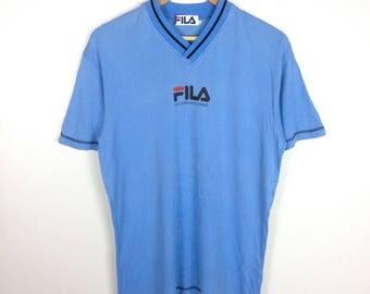 Rare !! Vintage FILA INTERNATIONAL Big Logo Spell Out Blue V-Neck Ringer T Shirt X-Large Size
