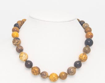Petrified Wood Opal and Gold Vermeil Necklace