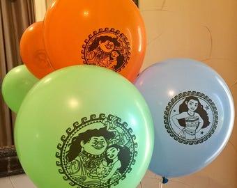 Moana Balloons Moana Latex Balloon Blue Green Orange Moana Birthday Party 6 pcs