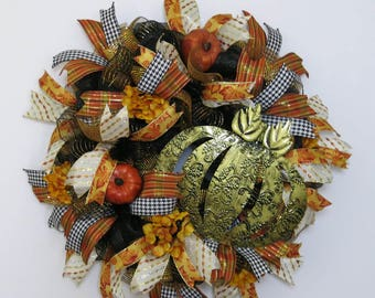 Fall Wreath, Fall Welcome Wreath, Deco Mesh Wreath, Front Door Wreath, Fall Décor, Home Décor, Pumpkin Wreath, Fall Pumpkin Wreath
