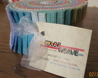 "Color Weave Pinwheel by Contempo Studio for Benartex - (40) 2.5"" Strips"