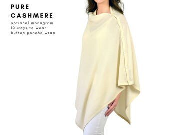 100% Pure Cashmere Ivory Multi-ways Buttons Poncho Travel Wrap
