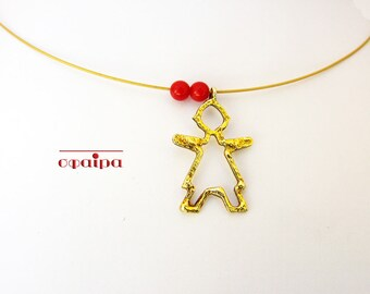 Silver Gold Plated Necklace, Little Girl Pendant, thin gold necklace, Delicate jewel. Dainty Necklace, Genuine Corals.