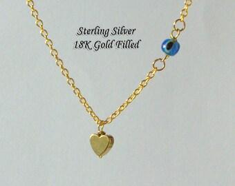 Dainty Heart Necklace, Tiny Evil Eye Pendant, Gold Heart Necklace, Love Necklace, Protection Jewel, Minimalist Heart Necklace