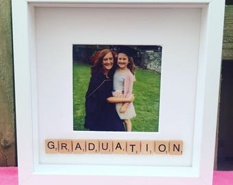 Scrabble graduation box photo frame - personalised with scrabble tiles