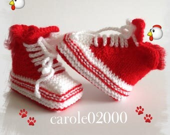 Baby booties (3 months) baby specially designed for baby, colors red/white