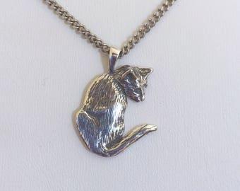 Cat Pendant, Cozy Cat Necklace, Silver Cat