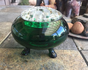 Vintage Flower Arranging Green Glass Vessel with Crystal Clear Frog Three Legged Retro