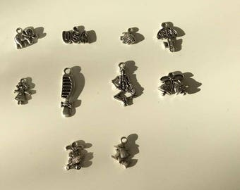 set of 10 silver charm comb, rabbit, elephant, Bell, umbrella...