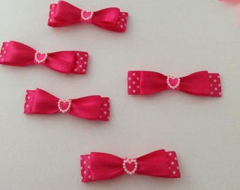 5 bow tie applique flower double fuchsia satin ribbon has polka dots + heart