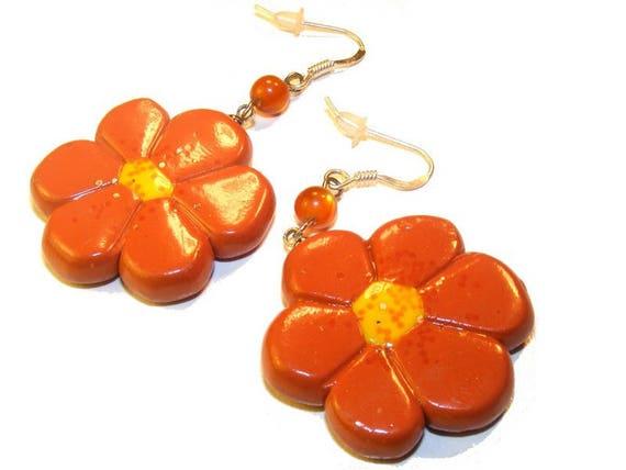 Earrings # # dangle earrings unique # flower # polymer # # terra cotta # dollydoo # unique gift