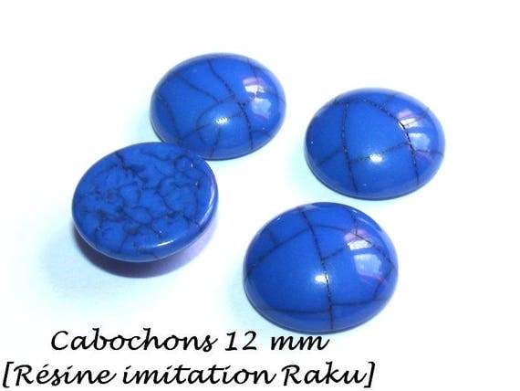 Cabochon 12 mm resin [Imitation ceramic Raku] SlateBlue x 1