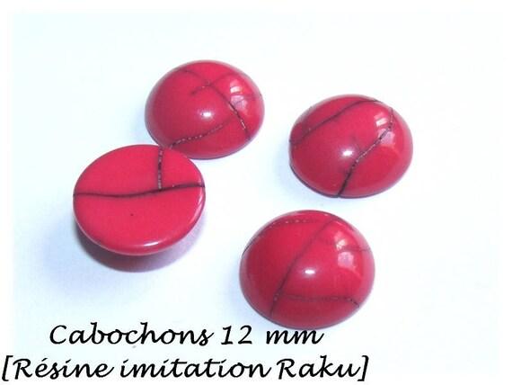 Cabochon 12 mm resin [Imitation ceramic Raku] DeepPink x 1