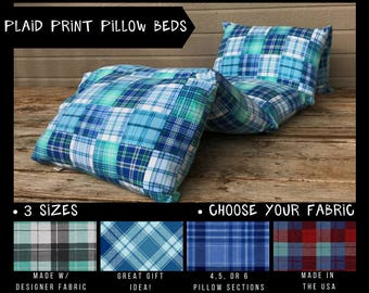 Kids Nap Mat - Preschool Nap Mat - Toddler Nap Mat - Pillow Mattress - Plaid Pillow Bed - Kids Pillow Bed - Kids Floor Pillows -