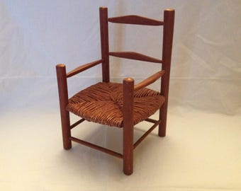 Doll Chair Wood and Rush Seat