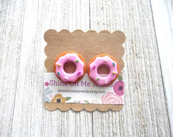 Pink Donut Earrings-Button Earrings-Pink Donut Studs-Donut Studs-Donut Jewelry-Fun Earrings-Hypoallergenic-Earrings for kids-Donut-Sprinkles