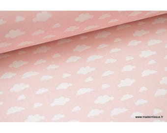 Fabric 100% cotton white clouds on pink x50cm drawing