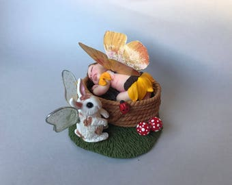 Ooak handmade miniature baby fairy and bunny, polymer clay sculpture,dollhouse,fairies,fantasy art.FREE SHIPPING WORLDWIDE.