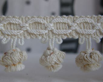 Cotton Offwhite Tassel fringe trimmings|4 cm long upholstery-curtains-cushion-throws-tablecloths decoration embellisments fringe trim tassel