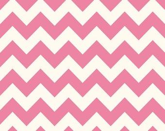 Hot Pink Chevron Fabric - Medium Chevron- c320 70 Hot Pink Fabric- Riley Blake Basics Cotton Chevron Fabric- Quilting Cotton Printed Fabric