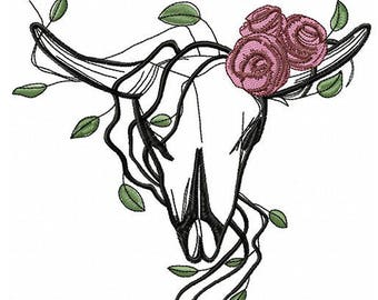 Hl 002 Cow skull romantic roses - Machine Embroidery Design, Embroidery Cow skull, Western 4*4, 5*7, 6*8, 8*8