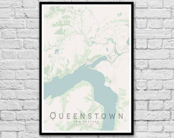 QUEENSTOWN Map Print | New Zealand Map | Gift for Couples | Wedding Gift | Wall Art Poster | Wall decor | A3 A2 | Valentine's Day Gift