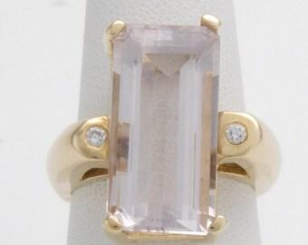 Kunzite and Diamond Contemporary Ring