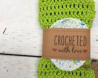 Crochet dishcloths set of 2 with pan scrubber!