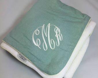 Willow Linen Minky Receiving Blanket | Faux Fur Baby Blanket | Linen Baby Blanket
