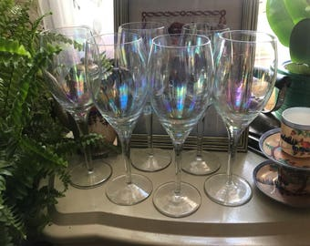 Six Antique Iridescent Crystal Champagne Flute Glasses
