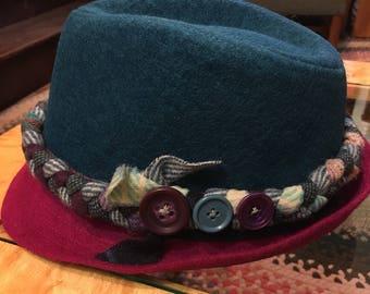 Braided band Fedora size 57cm turquois/fuschia