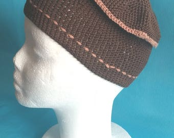 Cap adult teen dark brown lines and light brown tassel
