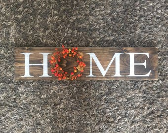 HOME sign, rustic home wood sign, home wreath sign