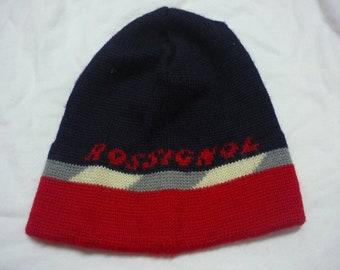 Vintage ROSSIGNOL Beanie Cap Ski Hat Color Blocked